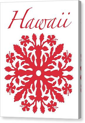 Canvas Print - Hawaii Red Hibiscus Quilt by James Temple