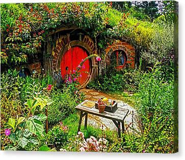 Red Hobbit Door Canvas Print by Kathy Kelly