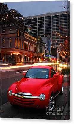 Red Hot Chevrolet Ssr In Downtown Of Dallas Fort Worth Canvas Print by Vu Nguyen