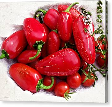Canvas Print featuring the photograph Red Hot Jalapeno Peppers by Shawna Rowe