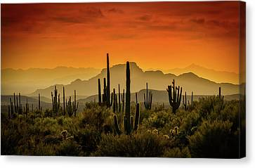 Red Hot Mountain Sunset  Canvas Print