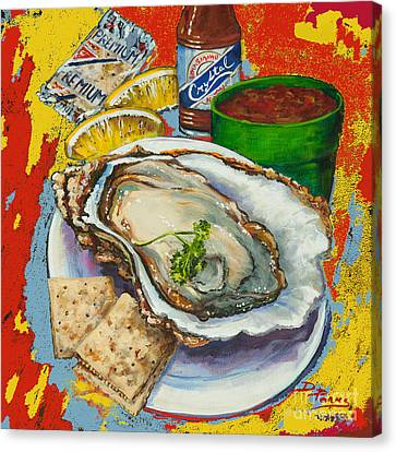 Raw Oyster Canvas Print - Red Hot Oyster by Dianne Parks