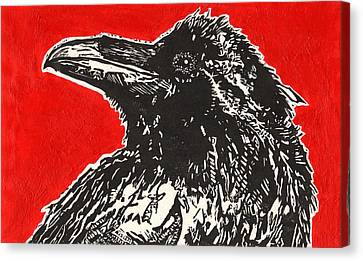 Red Hot Raven Canvas Print by Julia Forsyth