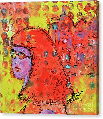 Canvas Print featuring the painting Red Hot Summer Girl by Claire Bull