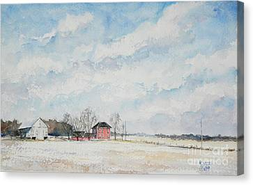 Red House Gray Barn Canvas Print by Mike Yazel