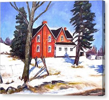 Red House In Rural Ontario Canvas Print by Diane Daigle