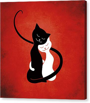 Red Hugging Love Cats Canvas Print