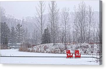 Red In Snow Canvas Print by Charline Xia