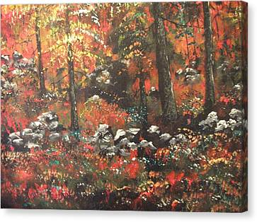 Canvas Print featuring the painting Red In The Woods by Dan Whittemore