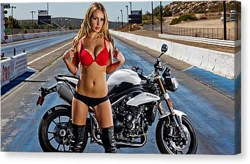 Canvas Print featuring the photograph Red Is Not Always For Ducati by Lawrence Christopher