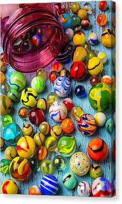 Red Jar With Colorful Marbles Canvas Print by Garry Gay