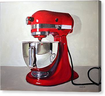Red Kitchen Mixer Canvas Print by Gail Chandler