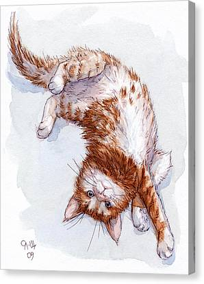 Red Kitten Stretch Canvas Print by Svetlana Ledneva-Schukina
