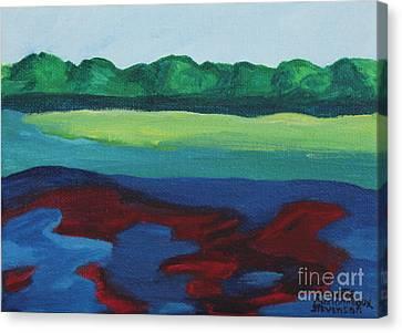 Red Lake Canvas Print by Annette M Stevenson