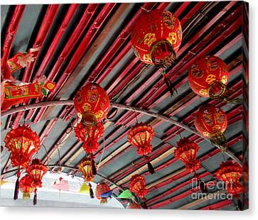Canvas Print featuring the photograph Red Lanterns 1 by Randall Weidner