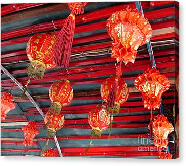 Canvas Print featuring the photograph Red Lanterns 2 by Randall Weidner