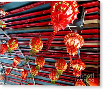 Canvas Print featuring the photograph Red Lanterns 3 by Randall Weidner