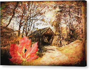 Red Leaves A Covered Bridge Canvas Print