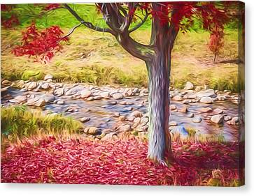 Red Leaves Falling Painted Canvas Print by Black Brook Photography