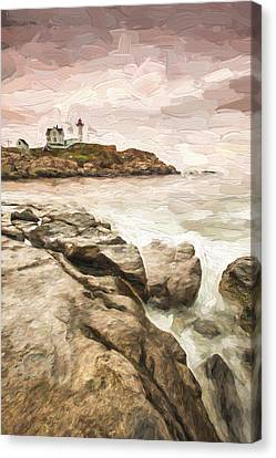 Red Lighthouse II Canvas Print by Jon Glaser