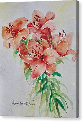 Red Lilies Canvas Print by Alexandra Maria Ethlyn Cheshire