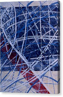 Red Line Blue Line Canvas Print by Ken Yackel