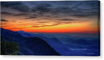 Smokey Mountains Canvas Print - Red Line Panorama Pretty Place Chapel Ymca Camp Greenville South Carolina Art by Reid Callaway