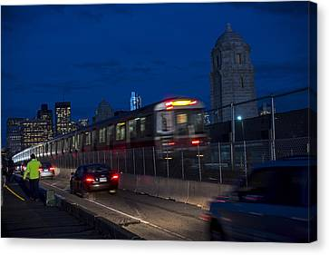 Red Line Train Rumbling Over The Longfellow Bridge In Boston Ma Canvas Print by Toby McGuire