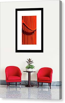 Canvas Print featuring the photograph Red Lines And Curves On Display by Gary Slawsky