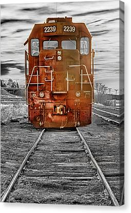 Red Locomotive Canvas Print by James BO  Insogna