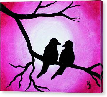 Canvas Print featuring the painting Red Love Birds Silhouette by Bob Baker