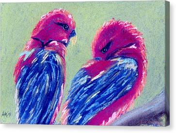 Red Lovebirds Canvas Print by Jan Amiss