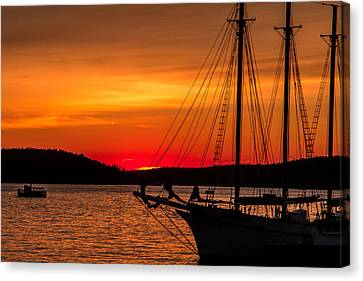 Red Maine Sunrise Canvas Print by Steven Bateson