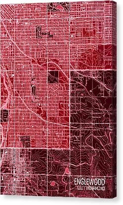 Antique Map Canvas Print - Red Map Englewood 1940 Abstract by Pablo Franchi