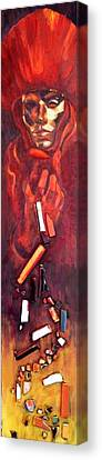 Red Mask Canvas Print by Ixchel Amor