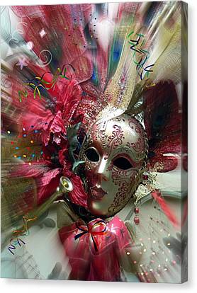 Canvas Print featuring the photograph Red Mask Of Fun by Amanda Eberly-Kudamik