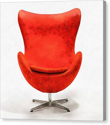Red Mid Century Modern Chair Canvas Print by Edward Fielding