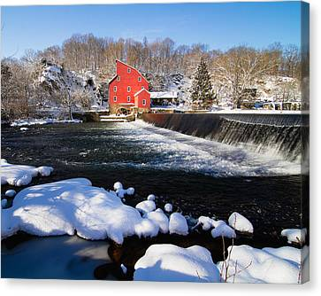 Red Mill In Winter Landscape Canvas Print by George Oze