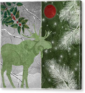 Red Moon Christmas Moose Canvas Print by Mindy Sommers
