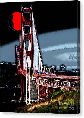 Red Moon Over The Golden Gate Bridge Canvas Print by Wingsdomain Art and Photography