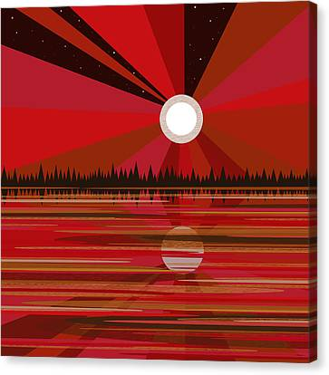 Glowing Moon Canvas Print - Red Moonshine by Val Arie
