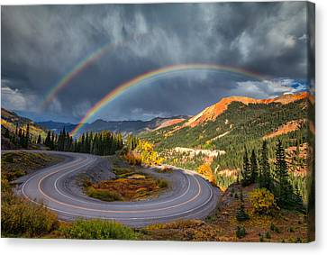 Red Mountain Rainbow Canvas Print by Darren  White