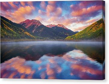 Canvas Print featuring the photograph Red Mountain Reflection by Darren White