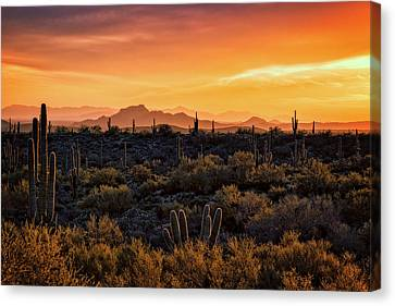 Canvas Print featuring the photograph Red Mountain Sunset Part Two  by Saija Lehtonen