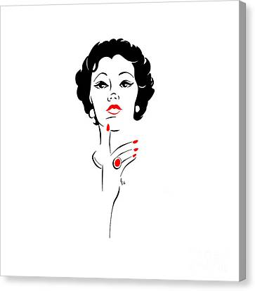 Canvas Print featuring the digital art Red Nails Red Lips by Cindy Garber Iverson