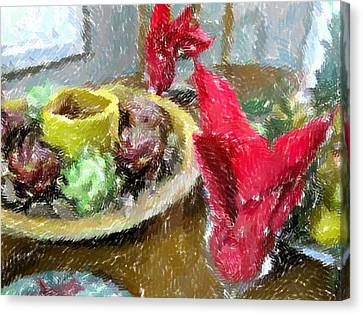 Red Napkins Canvas Print by Michael Morrison