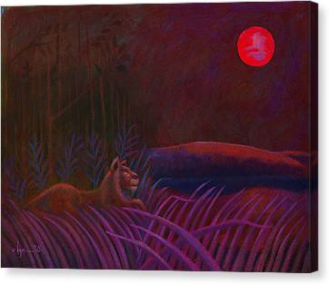 Canvas Print featuring the painting Red Night Painting 48 by Angela Treat Lyon