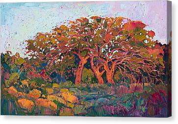 Canvas Print featuring the painting Red Oak Light by Erin Hanson