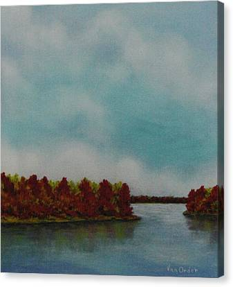 Red Oaks On The River Canvas Print by Richard Van Order