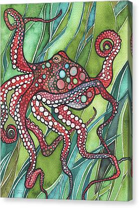 Canvas Print featuring the painting Red Octo by Tamara Phillips